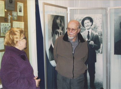 Aleksandr Esenin-Vol'pin, a son of famous Russian poet Sergei Esenin, visiting his father's museum.