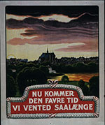 Drawing of a quiet town, roofs of many houses, big church, lake and green trees. Text in Danish. (Poster collection, DK11, Hoover Institution Archives)
