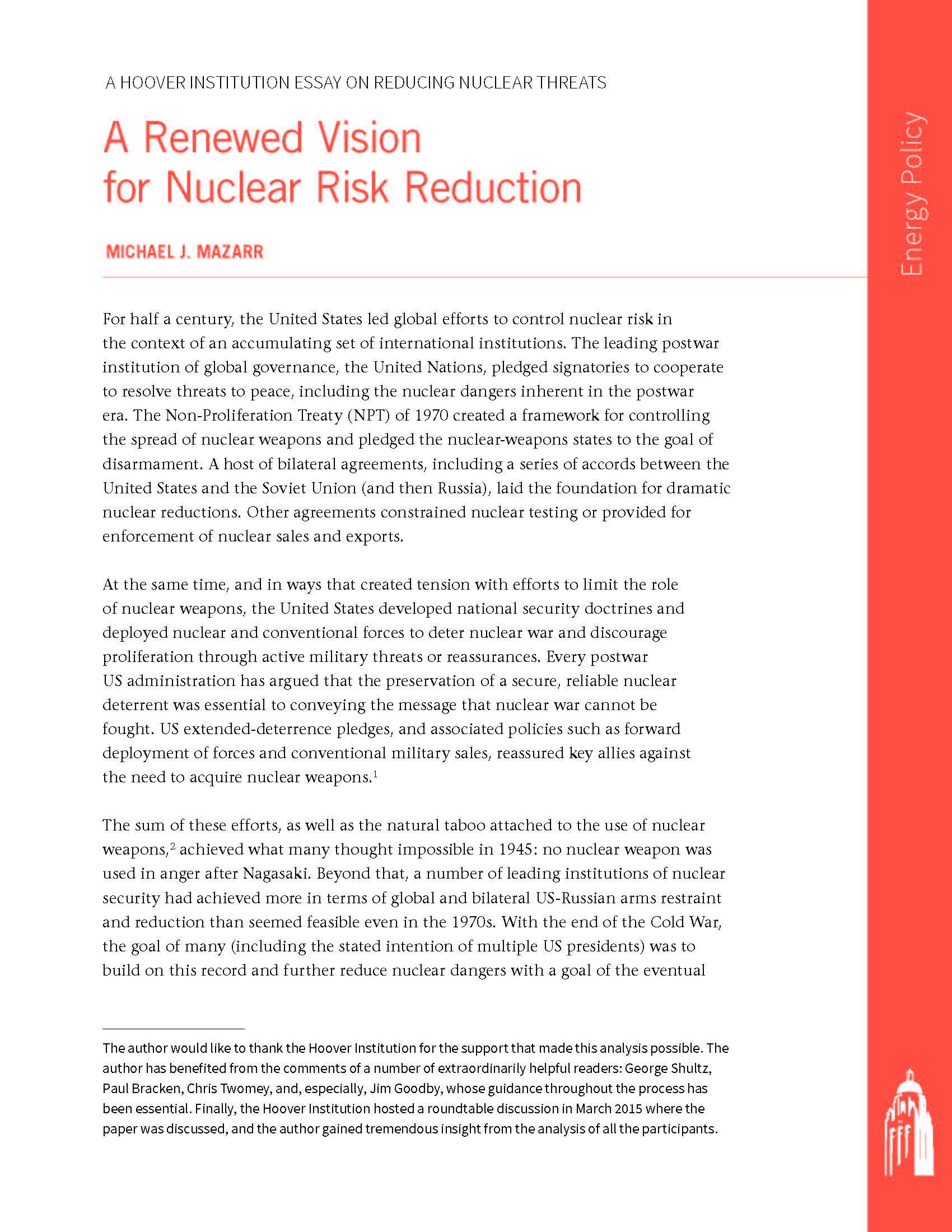 proliferation of nuclear weapons essay