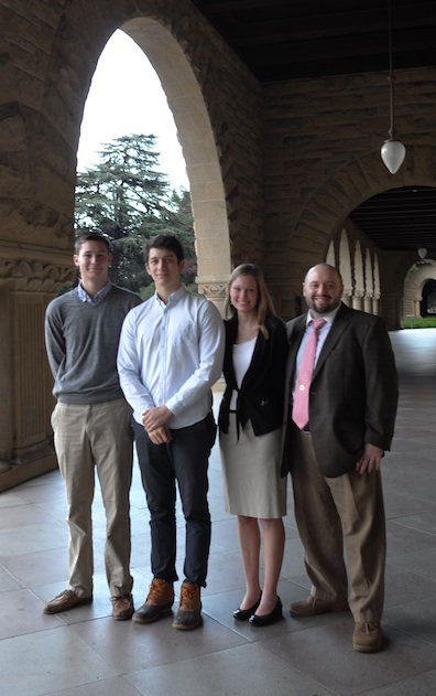 From left to right: Stanford freshmen Cameron Van de Graaf, Sam Premutico, Elise Kostial, and Program in Writing and Rhetoric Fellow Ethan Plaut