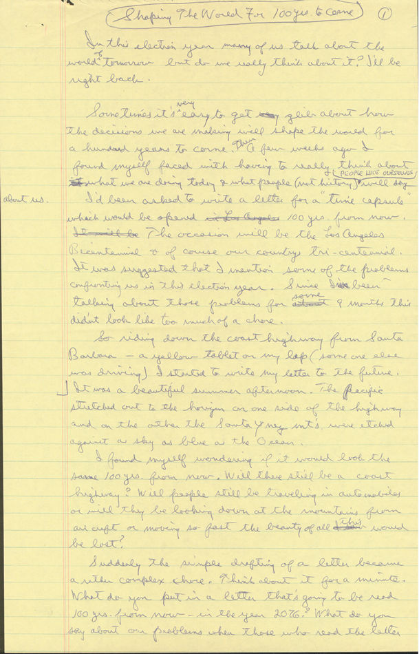 Ronald Reagan's Handwritten Page 1
