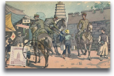 A postcard shows mounted Japanese soldiers being greeted warmly by Chinese civilians in the puppet state of Manchukuo.