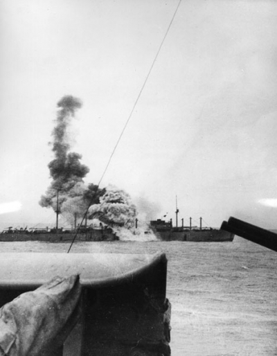 A torpedo from the German pocket battleship Graf Spee spells doom for the liner Doric Star in December 1939.