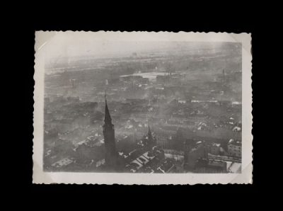 Smoke drifts upward from Warsaw in a photograph taken by a Luftwaffe pilot.