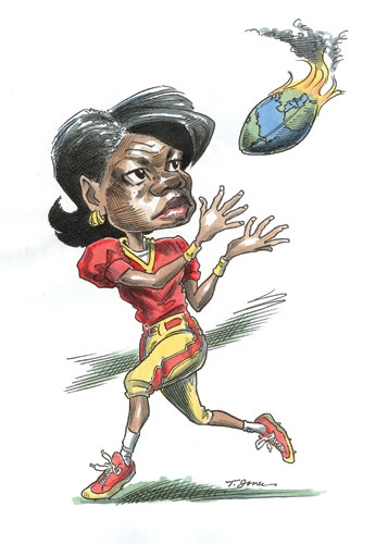 cartoon of Condoleezza Rice catching a political football