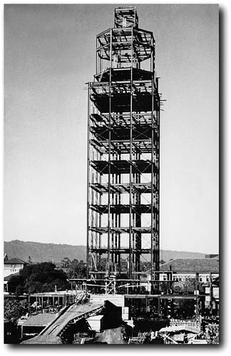 The Hoover Tower takes shape in 1940.