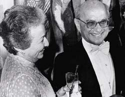 Rose and Milton Friedman at the Nobel ball, 1976