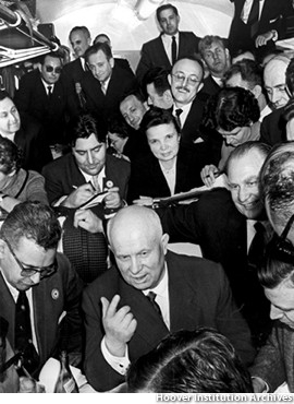 Khrushchev regales the press corps.