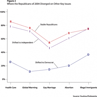 Figure 2. Where the Republicans of 2004 Diverged on Other Key Issues