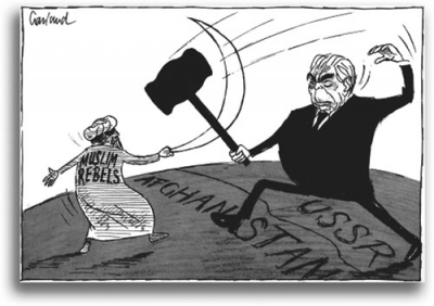 """Muslim Rebels"" duel with Soviet leader Leonid Brezhnev in this 1980 cartoon"