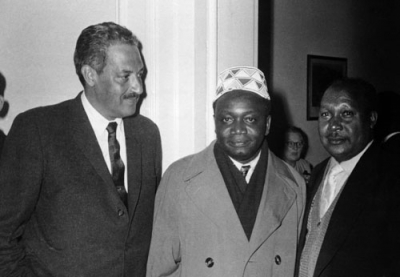 Future Supreme Court justice Thurgood Marshall, left, had a strong interest in fostering democracy in Africa
