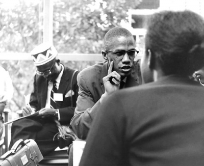 Malcolm X, the public face of the Nation of Islam, talks to the African students in 1960 in New York