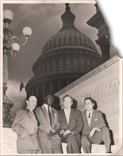 Civil rights activist George Houser, Tom Mboya, Senator Hubert Humphrey, and Bill Scheinman
