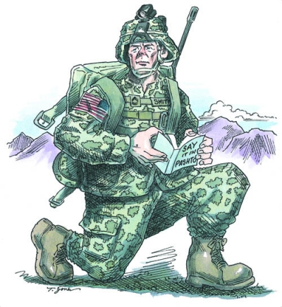 Soldier with book