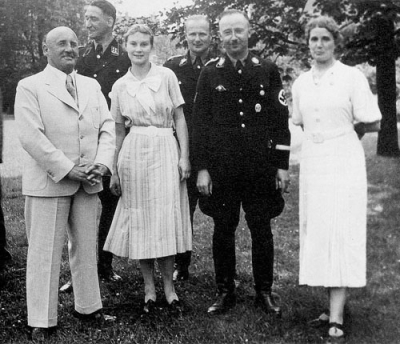 Julius Streicher, at left in white suit, poses for a bucolic snapshot with his friend, Heinrich Himmler