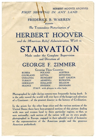 Handbill announces the film Starvation