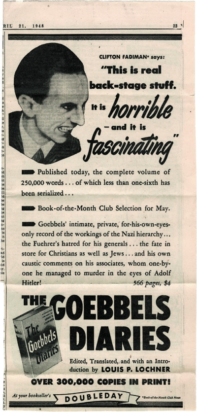 newspaper ad for the newly released Goebbels Diaries