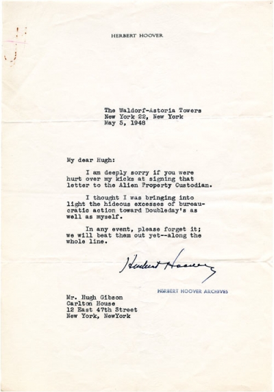 Hoover writes to Hugh Gibson in 1948