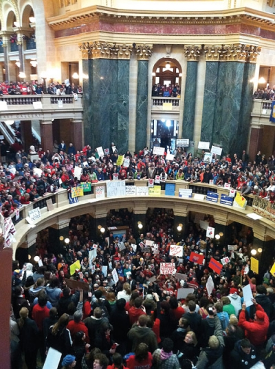 Protestors at Wisconsin capitol building