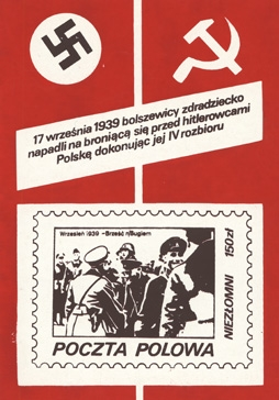 Stamps like this one focused on the Nazi-Soviet pact of 1939