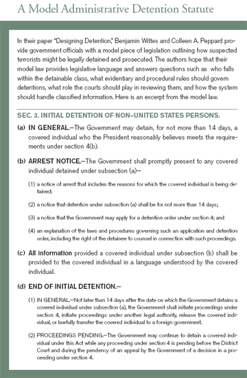 A Model Administrative Detention Statute